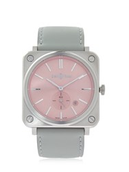 Bell And Ross Brs Quartz Pink Steel Watch Pink Grey
