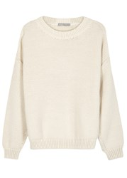 Vince Cream Chunky Knit Cotton Blend Jumper Off White