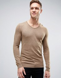 Asos V Neck Jumper In Muscle Fit Mustard Twist Beige