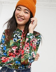 Monki Floral Print Relaxed Fit Blouse In Green