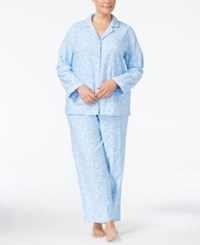 Charter Club Plus Size Printed Flannel Pajama Set Only At Macy's Blue Scroll