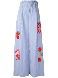 Jucca Floral Flared Trousers Women Cotton 40 Blue
