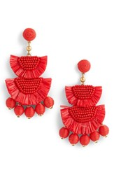 J.Crew Bead And Raffia Earrings Cerise