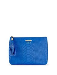 Gigi New York All In One Python Embossed Leather Clutch Cobalt
