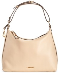 Calvin Klein Pebble Leather Hobo Only At Macy's Nude