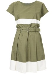 Issey Miyake Vintage Colour Block Skirt Suit Green
