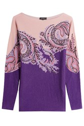 Etro Printed Wool Pullover With Cashmere Multicolor