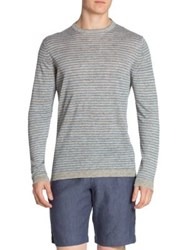 Saks Fifth Avenue Striped Linen Tee Cement