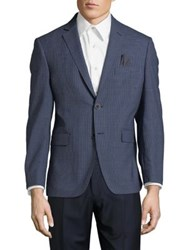 Black Brown Slim Mini Check Wool Blazer Blue