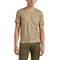 Massimo Alba Panarea Watercolor Dyed Cotton T Shirt Sand