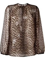 P.A.R.O.S.H. Semi Sheer Leopard Print Blouse Brown