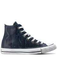 Converse Hi Top All Star Sneakers Leather Canvas Rubber Blue