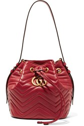 Gucci Gg Marmont Quilted Leather Bucket Bag Claret