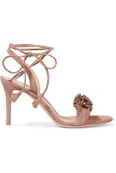 Gianvito Rossi Ruffled Suede Sandals Taupe