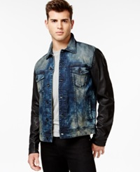Guess Dillon Faux Leather Sleeve Jacket Scruffy Blue Wash