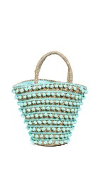 Mystique Pom Pom Tote Bag Mint