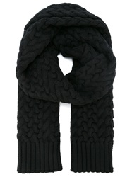 Dolce And Gabbana Chunky Cable Knit Scarf Black
