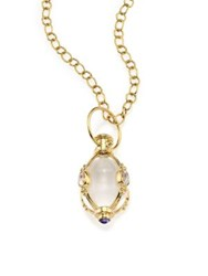 Temple St. Clair Classic Rock Crystal Royal Blue Moonstone And 18K Yellow Gold Charm
