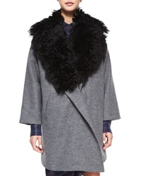 Thakoon Addition Fur Trim Cotton Blend Coat