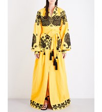 Yuliya Magdych King Of Beasts Embroidered Linen Maxi Dress Yellow
