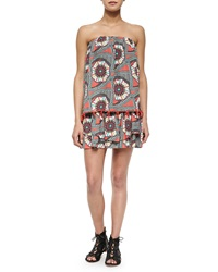 T Bags T Bags Tiered Strapless Printed Mini Dress Coral