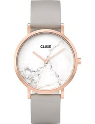 Cluse Cl40005 La Roche Marble Dial Leather Watch Silver Gold