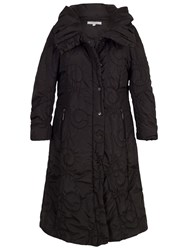 Chesca Cartwheel Embroidered Long Quilted Coat Black