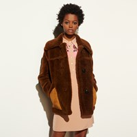 Coach Short Shearling Coat With Printed Lining Toffee