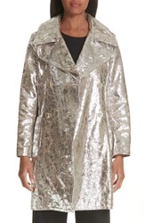 Simon Miller Double Breasted Metallic Lambskin Coat Silver
