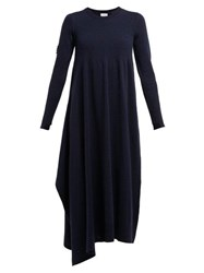 Barrie Asymmetric Side Slit Cashmere Midi Dress Navy