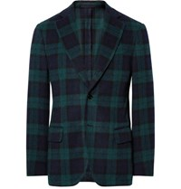 Massimo Piombo Mp Slim Fit Checked Wool Blend Blazer Navy