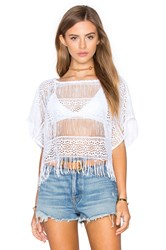 Nightcap Crochet Fringe Poncho Top White