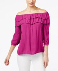 Inc International Concepts Off The Shoulder Ruffled Top Only At Macy's Magenta Flame