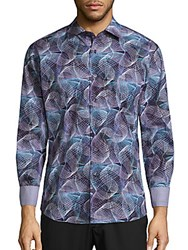 Bugatchi Printed Woven Cotton Shirt Orchid