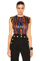 Balmain Graphic Tee In Abstract Black Abstract Black