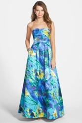 Hailey Logan Floral Print Strapless Gown Juniors Multi