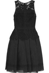 Noir Sachin And Babi Gloria Guipure Lace Embroidered Tulle Dress Black