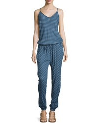 Jach's Girlfriend Polka Dot Sleeveless V Neck Jumpsuit White Blue