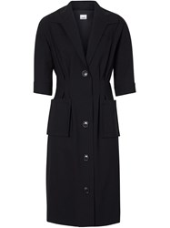 Burberry Short Sleeve Stretch Wool Dress Black