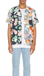 Native Youth Terrazzo Short Sleeve Shirt In Navy Baby Blue. Navy Multi Print