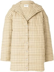 Awake A.W.A.K.E. Oversized Checked Coat Nude And Neutrals