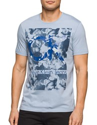 Calvin Klein Jeans Graphic Printed Cotton Tee Dusty Blue