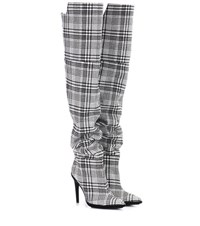 Off White Plaid Over The Knee Boots Multicoloured