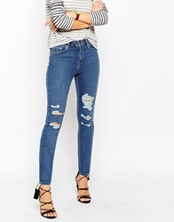 Asos Ridley Skinny Jeans In Louis Mid Stone Wash With Shredded Rips Midstonewash