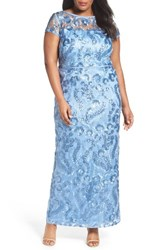 Brianna Plus Size Women's Sequin Embroidered Sheath Gown Slate Blue