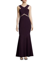 Betsy And Adam Mesh Accented Mermaid Gown Plum