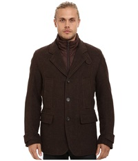 Marc New York Albany Shadow Herringbone Blazer W Removable Quilted Bib Espresso Men's Coat Brown