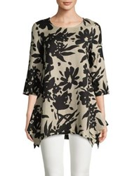 Context Floral Silhouette Sharkbite Tunic Black Coast