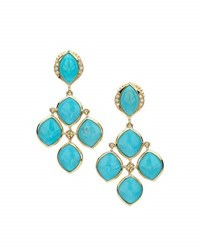 Elizabeth Showers Simone Turquoise And Diamond Chandelier Earrings Blue
