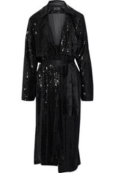 Rta Karina Satin Trimmed Sequined Jersey Trench Coat Black